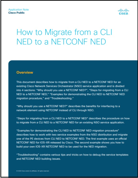 NSO AppNote_Migrate from CLI NED to a NETCONF NED